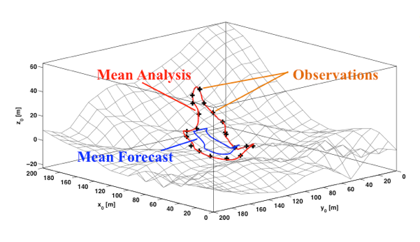 Test simulation of wildland fire propagation (regional scale). Mean forecast (blue line): mean of statistical ensemble of predicted fire front position without data assimilation. Mean analysis (red line): mean of statistical ensemble of predicted fire front position with data assimilation. The good agreement between the mean analysis and the observations demonstrate the performance of data assimilation.